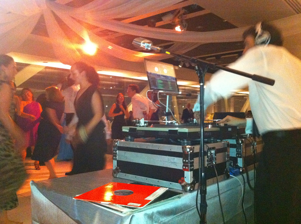 DJ D-Mac doing his thing, Catherine and Paul's wedding