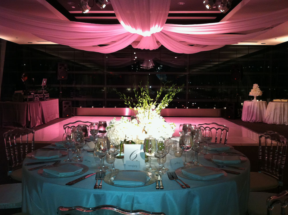 Table settings, flowers, drapery, all beautiful!
