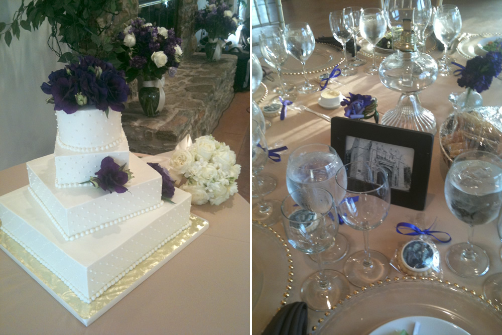 Lori & Dejan's cake and an elegant & personal table setting