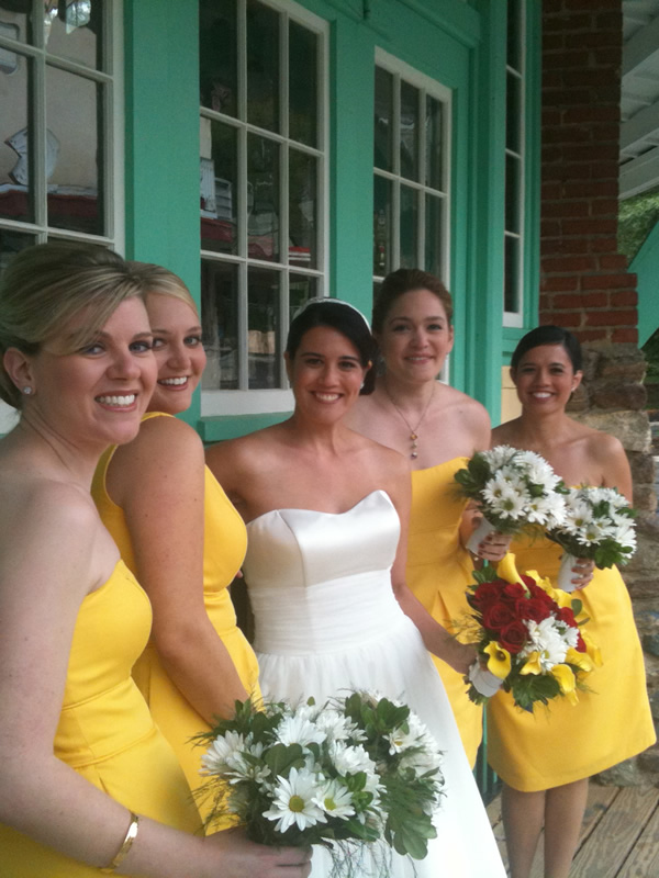What rain? Marissa and her lovely bridesmaids