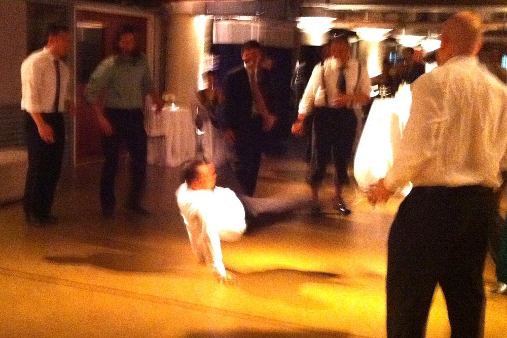 Breakdancing at Dave & Irang's wedding