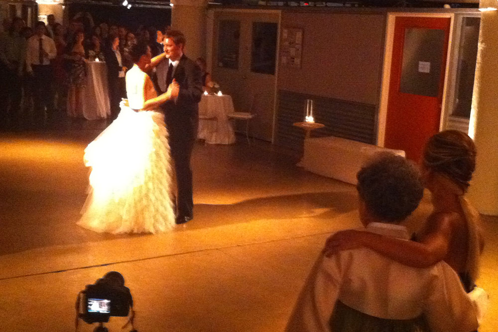 """The first dance, to """"Let's Stay Together"""" by Al Green"""