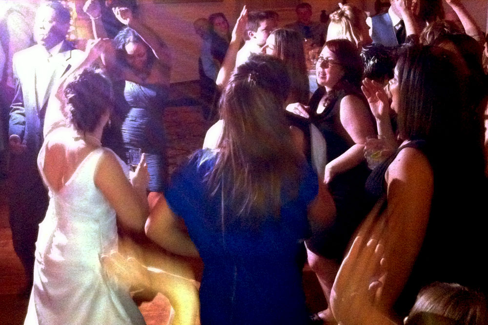Dance floor action at Lindsay & Tom's wedding
