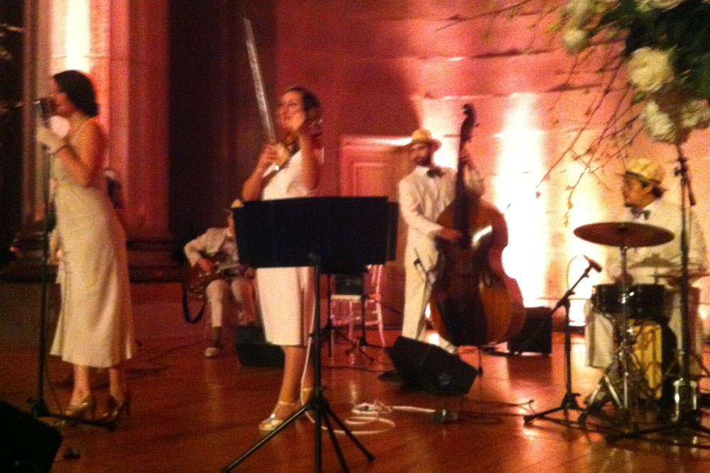 Carte Blanche playing for Ted & Nancy's wedding at Mellon Auditorium