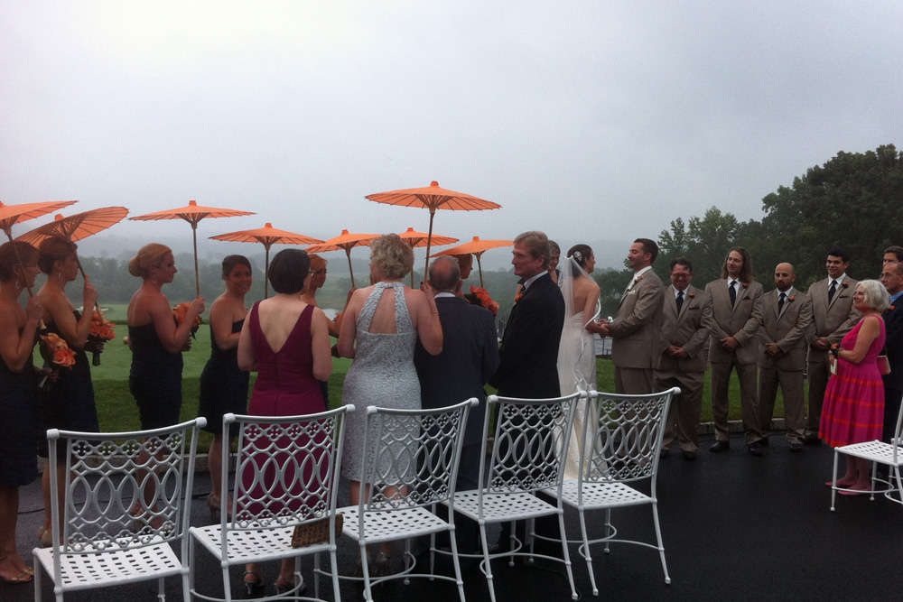 Whitney and Sean's Trump National Golf Club Wedding - ceremony in the rain