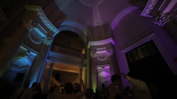 Our lighting design features dramatic color, reaching the top of rotunda at the Carnegie Institute for Science