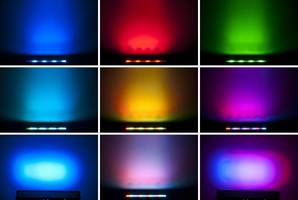 a sampling of the range of color possible with the RGB fixtures, a feature of our lighting design