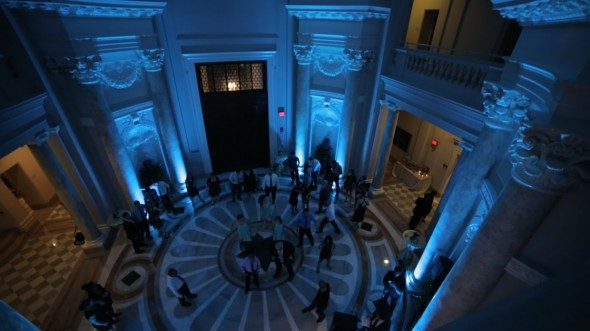 lighting design provides dramatic color in the rotunda at the Carnegie Institute for Science