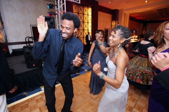 dancing at the 2013 Helen Hayes Awards after-party